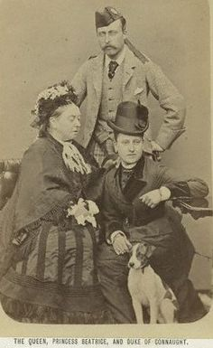 A great picture of Prince Arthur, Duke of Connaught and Strathearn with his Mother, Queen Victoria & sister, Beatrice.