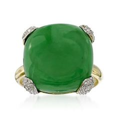 16mm Jade Ring in 14kt Yellow Gold