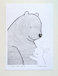 Bunny Bear Print Ink Drawing Black & White Wall Decor