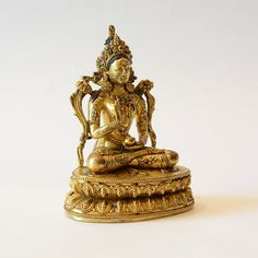 """Figure of Tara, Circa 1800 AD to 1900 AD. Tibet. Tara is the feminine counterpart of the bodhisattva (""""Buddha-to-be"""") Avalokitesvara (meaning one who hears the cries of the world). Find important Asian art for sale on CuratorsEye.com."""