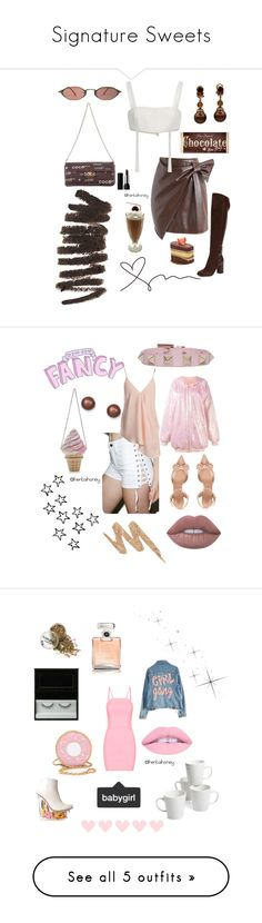 """""""Signature Sweets"""" by hentaihoney ❤ liked on Polyvore featuring Chicwish, Georgine, Belstaff, Too Faced Cosmetics, Bobbi Brown Cosmetics, Chanel, Kat Von D, Tripp, Lime Crime and Valentino"""