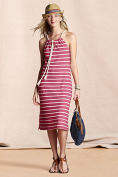 Women's French Terry Nautical Dress from Lands' End Canvas 27.99 + 30% off