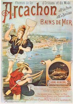 Arcachon Bains de Mer, France Atlantique , Vintage Art Nouveau travel beach poster #affiche #plage #essenzadiriviera.com
