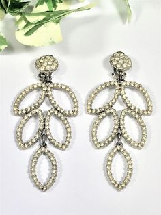 038d9db92e9218 Stunning Large Silver Tone & Diamante Leaf, Drop earrings - Clip on -  Bridal, Prom