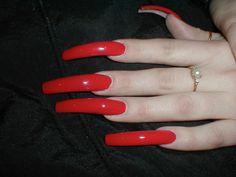 Sexy Nails, Trendy Nails, Nails On Fleek, Long Red Nails, Long Acrylic Nails, Nail Blog, Nail Candy, Colorful Nail Designs, Nagel Gel