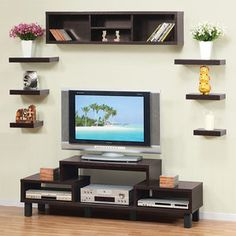 Hokku Designs Somer Hanging Shelves and Cabinet. Love the way the shelves are around and over the tv