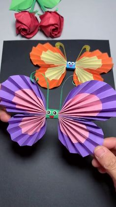 Spring Crafts For Kids, Paper Crafts For Kids, Craft Activities For Kids, Summer Crafts, Preschool Crafts, Art For Kids, Craft Ideas, Paper Flowers Craft, Paper Crafts Origami