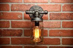 Mason Jar Light - Pipe Light - Vanity Light - Edison Light - Rustic Light - Industrial Light - Wall Light - Wall Sconce - Steampunk Light by TMGDZN on Etsy