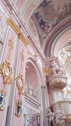 vintage , pink , gold , architecture , Church