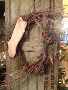 "Primitive wreath! Making these for Christmas! From ""The Old Granary"" in Quincy Mi"