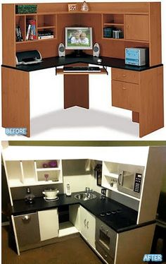 Cute ideas for turning old furniture into kid kitchens.