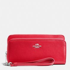 Coach Double Accordion Zip Wallet ($250) ❤ liked on Polyvore featuring bags, wallets, red, zip coin wallet, leather zipper wallet, horse wallet, leather accordion wallet and accordion wallet