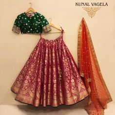 Pink Banarasi Lehenga by Kunal Vagela - ThealiceOnline Banarasi Lehenga, Half Saree Lehenga, Lehnga Dress, Indian Lehenga, Lehenga Choli, Anarkali, Saree Blouse, Indian Wedding Gowns, Indian Bridal Outfits