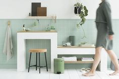 Our newIcon pedal bins are not only iconic beauties, but they're reliable workers too. Sturdy, and always standing strong because of their non-slip base and anti-tilting block Types Of Waste, Kitchen Trash Cans, Stand Strong, Double Vanity, Desk, Inspiration, Furniture, Home Decor, Color