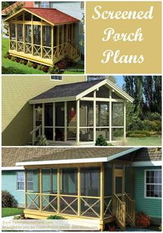 Screened porch plans collage