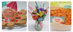 hibiscus straws, nutter butter flip flop cookies, and shark bait (goldfish, of course) Boy Birthday, Birthday Parties, Birthday Ideas, Flip Flop Cookie, Shark Bait, Hawaiian Luau Party, Summer Pool Party, Superhero Party, Hula