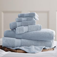 6 PIECE LUXURY 100% COTTON TOWEL SET - LT. BLUE