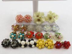 Adorable collection of vintage beaded earrings.