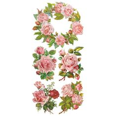 1 Sheet of Stickers Mixed Roses and Wreath