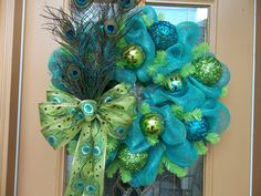 Deco Mesh Turquoise Peacock Feather Holiday Wreath by DecoDzigns, $125.00