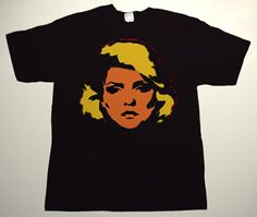 BLONDIE Debbie Harry drawing 8 DELUXE ART CUSTOM T-SHIRT     Each T-shirt is individually hand-painted, a true and unique work of art indeed!  To order this, or design your own custom T-shirt, please contact us at info@collectorware.com, or visit  http://www.collectorware.com.ar/tees-blondie.htm