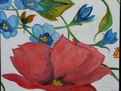 """""""Mohn mit Blauen Blumen"""""""