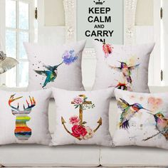 SunnyRain 1-Piece Painting Hummingbird Cushion Cover Linen Cotton Decorative Cushion Covers Pillow Cover housse de coussin