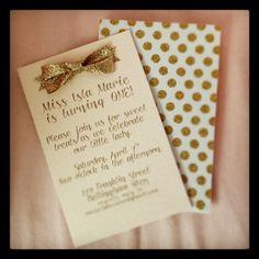 Gold polka dot invitation set!
