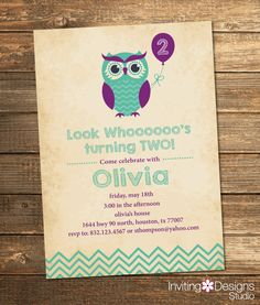 Owl Birthday Invitation, Second Birthday, First, Birthday Party, Chevron, Purple, Mint, Mint Green, Aqua, Printable File by InvitingDesignStudio on Etsy