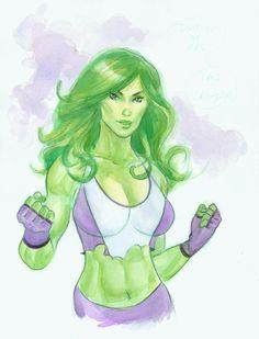 She Hulk watercolor by MichaelDooney.deviantart.com on @deviantART