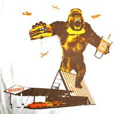 What-A-Burger King Kong gorilla custom screenprinted tshirts by Big Star Branding: we have been locally owned and operated in San Antonio, Texas for over 27 years: quality custom screen pritning, custom embroidery and anything else you need to print on to help you promote, advertise ro market your business, event or school: visit usonline at bigstarbranding.com