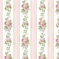 Norwall Wallcoverings Small Rose Stripe Pink And Blue Wallpaper Cn24639 | Bellacor