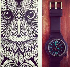 Meet our Night Owl Black / Blue with its Owl! ⌚️ #watchlover #swissmade #art #design #illustration #drawing #owls