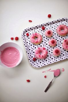 Raspberry Glazed Donuts with Candied Rose Petals