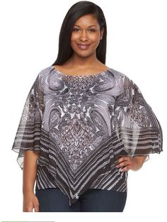 4555dcf237e World Unity Women s Plus Sz 1X Printed Poncho Top And Tank Embellished  Sheer NWT