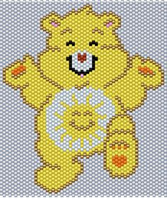 Funshine Bear from the Care Bears Peyote/Brick Stitch Pattern (Pattern by me, Man in the Book) Peyote Beading Patterns, Pony Bead Patterns, Loom Beading, Bracelet Patterns, Cross Stitch Designs, Cross Stitch Patterns, Perler Bead Emoji, Pony Bead Crafts, Beaded Banners