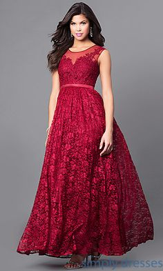 Shop a-line long lace prom dresses at Simply Dresses. Cheap formal evening dresses under $100 with lace appliques and sheer-illusion bodices.