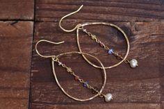 14kt Gold Hammered Hoop Earrings  Gold Teardrop by JooniJewelry