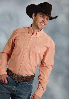 c821480df5345 Roper Apparel   Footwear Men s Long Sleeve Shirt Mini Checks Orange - Item  03-00