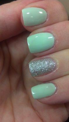 Gargantuan Green Grape by OPI and Silver Glitter make for a super cute Springy Manicure
