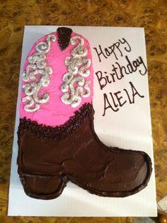 Cowgirl boot birthday cake
