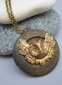 Gothic Owl Locket Necklace,  Jewelry, brass locket owl gold vintage, Chic