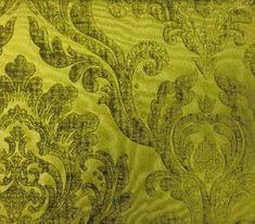 Neiman Apple Green Fabric - Velvet Damask