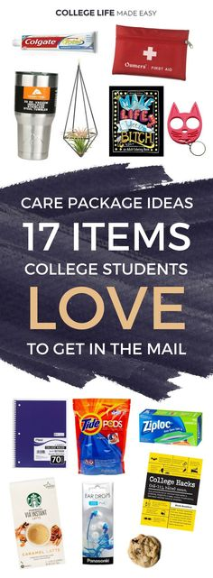 Care Package Ideas: 17 Items College Students Love to Get | College Student Care Package Ideas for Guys for Friends For Girls | Dorm Room Survival Kits | Fun Mail | College Care Package Ideas List Articles Posts | Creative DIY Care Package via @esycollege