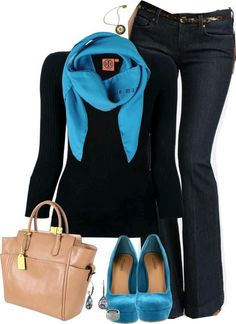 Jeans & bright blue