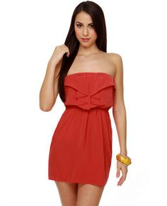 Play Date Strapless Red Dress  $40.00