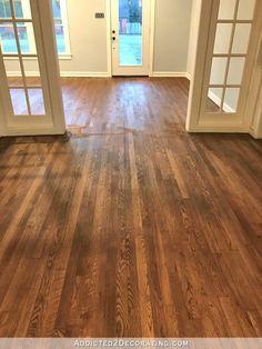 Choosing The Best Farmhouse Style Floor Stain | Hammers N Hugs Hardwood Floor Stain Colors, Oak Hardwood Flooring, Laminate Flooring, Vinyl Flooring, Staining Wood Floors, Wood Floor Finishes, Porch Flooring, Modern Flooring, Unique Flooring