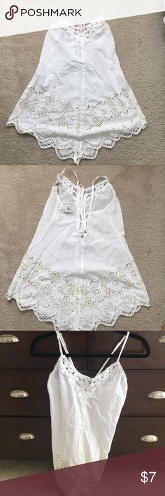 NWT Cotton Lace Tank Top Selling NWT Cotton Lace Tank Top. Adjustable straps and tie back closure. Could be used as a bathing suit cover up or for sleepwear. In Bloom Tops Tank Tops
