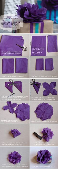 DIY Tissue Paper Flower Tutorial - Click image to find more DIY & Crafts Pinterest pins
