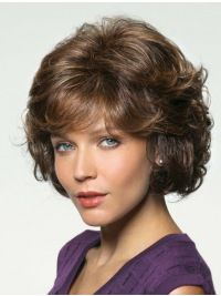 """Brown Suitable Wavy Remy Human Hair Medium Wigs  Material: Remy Human Hair Shown Colour: Same As Picture Hair Style: Wavy Cap Construction: 100% Hand-tied Length: 10"""""""